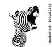 vector image of zebra with open ... | Shutterstock .eps vector #1041252838