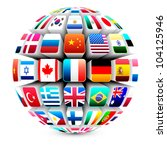 3d Sphere With World Flags...