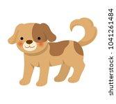 cute dog on white background | Shutterstock .eps vector #1041261484
