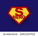 sign superhero on blue...