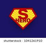 Sign Superhero On Blue...