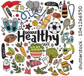 healthy lifestyle concept hand... | Shutterstock .eps vector #1041266950