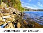 spring snow forest river shore... | Shutterstock . vector #1041267334