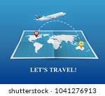 travel by airplane realistic... | Shutterstock .eps vector #1041276913
