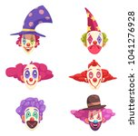 masks of clowns set with... | Shutterstock .eps vector #1041276928