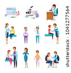 vaccination immunity cartoon... | Shutterstock .eps vector #1041277564