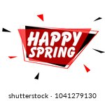 happy spring  sign with red... | Shutterstock .eps vector #1041279130