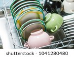 open dishwasher with clean... | Shutterstock . vector #1041280480