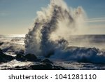 spectacular wave crash seen... | Shutterstock . vector #1041281110