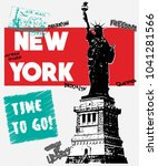 statue of liberty and...   Shutterstock .eps vector #1041281566