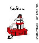 stylish suitcase  boxes  shoes...   Shutterstock .eps vector #1041286786