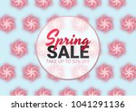 spring sale floral advertizing... | Shutterstock .eps vector #1041291136