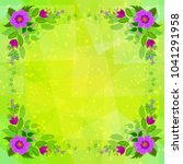 frame from lilac flowers and... | Shutterstock . vector #1041291958