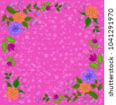 frame from flowers and green... | Shutterstock . vector #1041291970