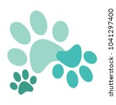 turquoise paws print vector | Shutterstock .eps vector #1041297400