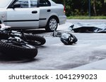 car and motorbike crash site... | Shutterstock . vector #1041299023