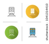 train icon. flat design  linear ... | Shutterstock .eps vector #1041314410