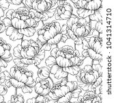 peony flower seamless pattern... | Shutterstock .eps vector #1041314710