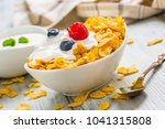 bowl full of cornflakes with... | Shutterstock . vector #1041315808