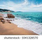 misty summer seascape of aegean ...   Shutterstock . vector #1041328570