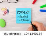 hand writing conflict  resolved ... | Shutterstock . vector #1041340189