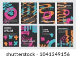 vector set of  cards with... | Shutterstock .eps vector #1041349156