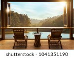 beautiful landscape at cafe... | Shutterstock . vector #1041351190