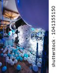 photo wall of white balloons... | Shutterstock . vector #1041355150