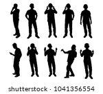 set of young men with earphone...   Shutterstock .eps vector #1041356554