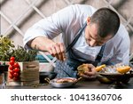 chef sprinkling spices on dish... | Shutterstock . vector #1041360706