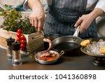 chef cooks spreadsheets octopus ... | Shutterstock . vector #1041360898