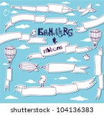 doodle banners and ribbons  ... | Shutterstock .eps vector #104136383