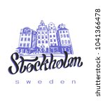 travel.  trip to sweden. the... | Shutterstock .eps vector #1041366478