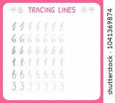 tracing lines. worksheet for... | Shutterstock .eps vector #1041369874