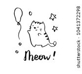 hand drawn funny cat... | Shutterstock .eps vector #1041372298