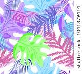 tropical leaves  repeat raster... | Shutterstock . vector #1041379414