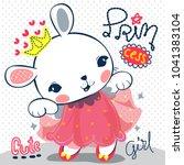 happy cartoon princess rabbit... | Shutterstock .eps vector #1041383104