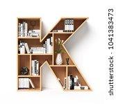 bookshelves 3d font. alphabet... | Shutterstock . vector #1041383473