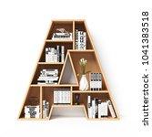 bookshelves 3d font. alphabet...   Shutterstock . vector #1041383518