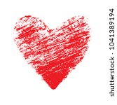 red heart. hand drawn with... | Shutterstock .eps vector #1041389194