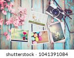 retro camera and paper photo... | Shutterstock . vector #1041391084