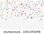 colorful confetti star on... | Shutterstock .eps vector #1041392098