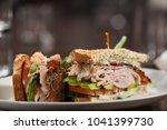 turkey club sandwich  | Shutterstock . vector #1041399730