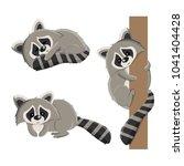 set of raccoons in different... | Shutterstock .eps vector #1041404428