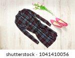 checkered dress  pink shoes ... | Shutterstock . vector #1041410056