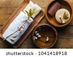 spa setting on wood table | Shutterstock . vector #1041418918