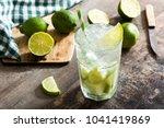 caipirinha cocktail in glass on ... | Shutterstock . vector #1041419869