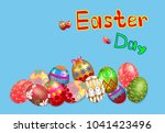 happy easter day  easter eggs... | Shutterstock .eps vector #1041423496