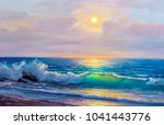 morning on sea  wave ... | Shutterstock . vector #1041443776