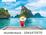 traveler woman with backpack... | Shutterstock . vector #1041475570